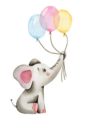 Watercolor cute elephant holds the trunk of multi-colored balloons isolated on white background.