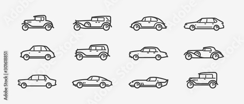 Car icon set. Transport, transportation symbol in linear style. Retro vector