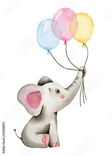 akwarela-slodki-slon-trzyma-bagaznik