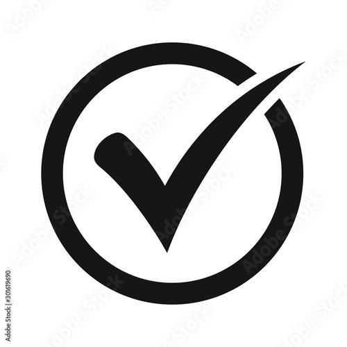 Pinturas sobre lienzo  Tick icon vector symbol, checkmark isolated on white background, checked icon or