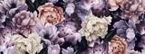 Fototapeta Kwiaty - Seamless floral pattern with flowers, watercolor