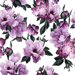 FototapetaSeamless floral pattern with flowers, watercolor