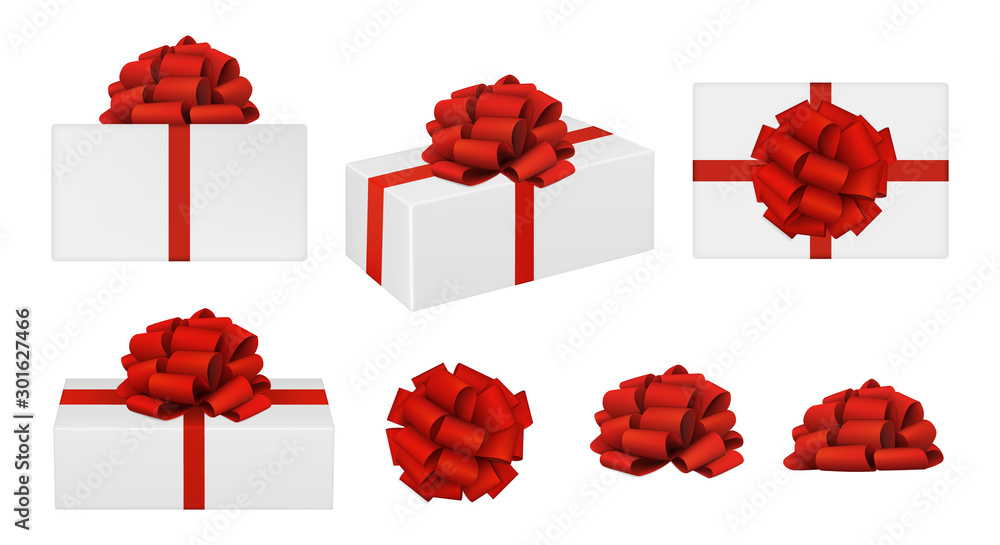 Fototapeta Set of vector realistic red bows and gift boxes. top view, side view, perspective view. EPS 10