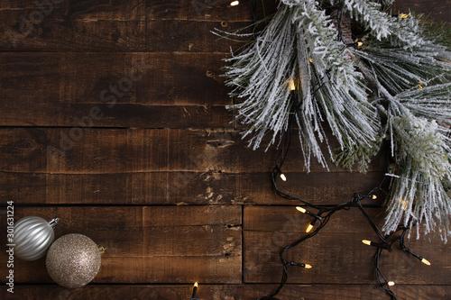 Fotografie, Tablou  Elementos navideños sobre fondo rústico