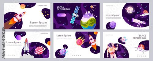 Set of web banners templates. Presentation. Cartoon modern design. Black holes. Space explore. Children vector illustration. Science. Horizontal banners. EPS 10