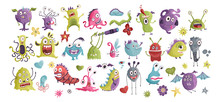 Huge Vector Cute Funny Monster Clip Art Hand Drawn Collection. Colorful Comic Ugly Character Set.