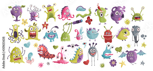 Huge vector cute funny monster clip art hand drawn collection Fototapet
