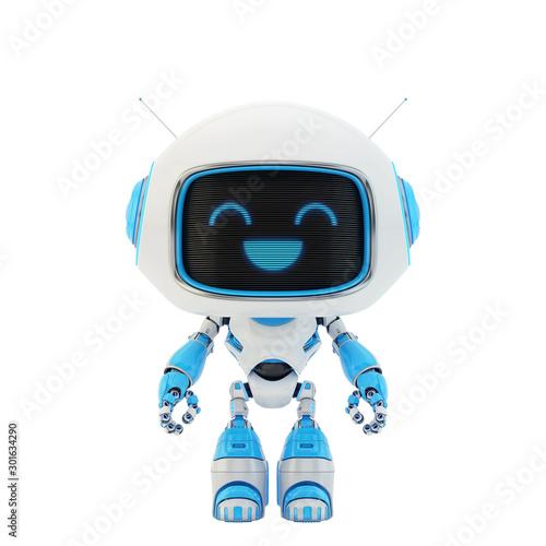 Cute little robotic toy, 3d rendering Canvas Print