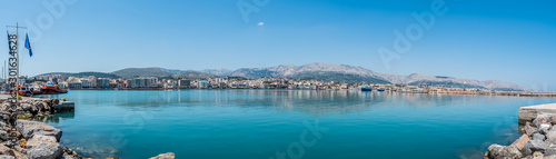 Port of Chios panorama on a beautiful day, Greece