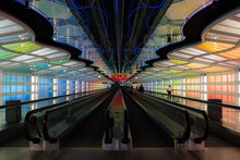 Colorful Moving Walkway Of United Airlines Terminal 1 At O'Hare International Airport In Chicago