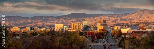 Beautiful city sunset over Boise Idaho in autumn #301638261