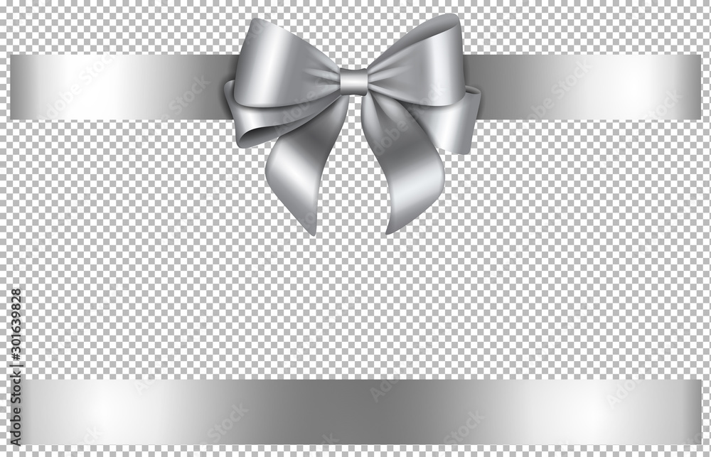 Fototapety, obrazy: silver bow and ribbon for chritmas and birthday decorations