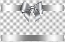 Silver Bow And Ribbon For Chritmas And Birthday Decorations