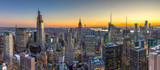 Fototapeta New York - New York City Manhattan buildings skyline sunset evening