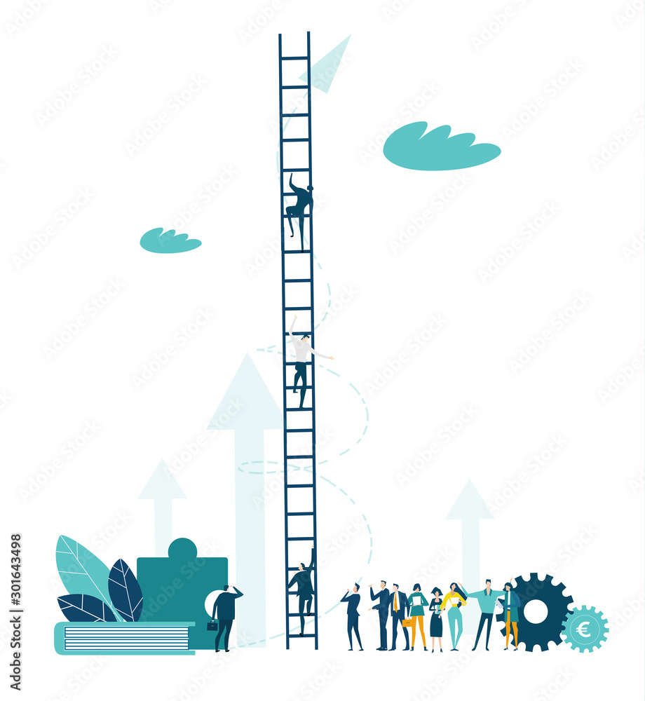Fototapety, obrazy: Business and professional people waiting in queue to go on professional ladder.  Business concept illustration