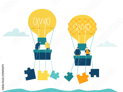Obraz Two Air Balloons Light bulb with business people in baskets flying with puzzle pieces. Concept illustration, finding new opportunity, progress, success and support ideas. - fototapety do salonu