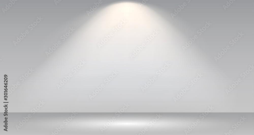 Fototapety, obrazy: Empty white photo studio interior background. Gallery Interior with shine illuminated spotlight. Realistic empty white wall – stock vector