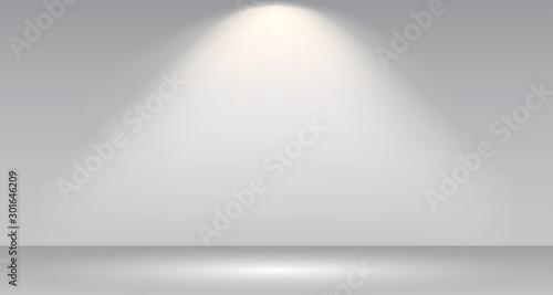 Obraz Empty white photo studio interior background. Gallery Interior with shine illuminated spotlight. Realistic empty white wall – stock vector - fototapety do salonu