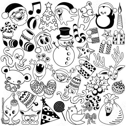 Photo Stands Draw Christmas Doodles Funny and Cute Black and White Vector Characters isolated pack of 37