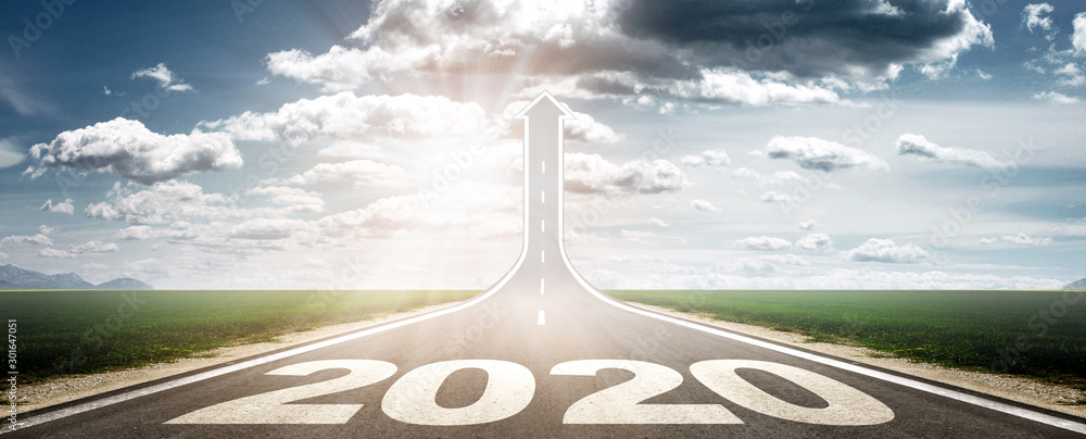 Fototapeta Vorwärts ins neue Jahr 2020!