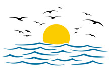 Seascape, Blue Sea And Sun, Wave, Summer Sign With Seagulls – Stock Vector