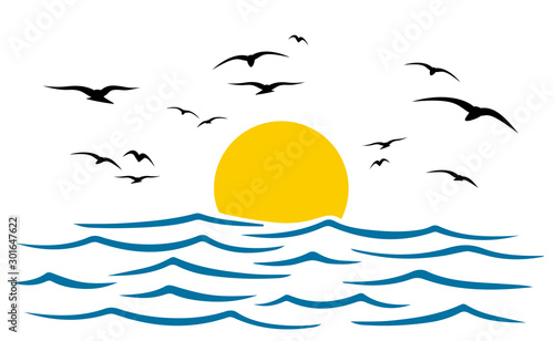 Seascape, blue sea and sun, wave, summer sign with seagulls – stock vector Fototapet