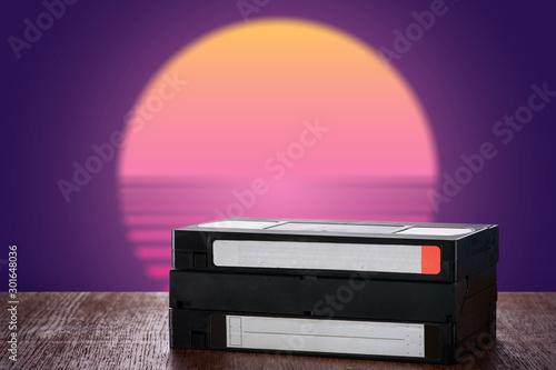 Valokuvatapetti VHS videocassette on a table  close-up