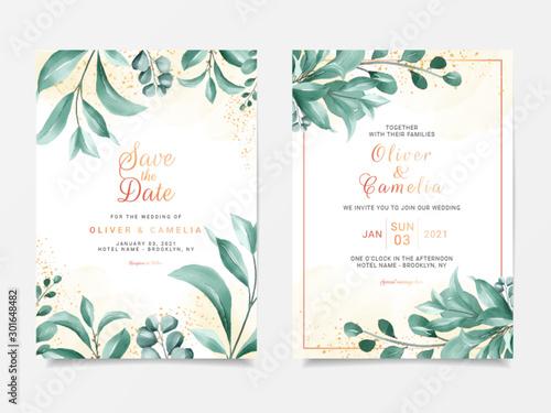 Greenery wedding invitation card template set with elegant leaves frame decoration Fototapet