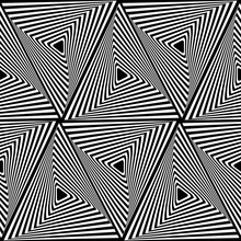 Abstract Seamless Pattern With Striped Black White Triangles. Optical Art Illusion Effect. Graphic Line Background. Geometric Futuristic Vibrant Design.