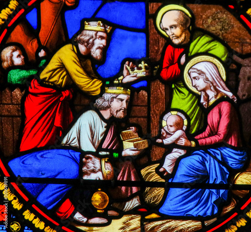 Fototapeta Stained Glass in Notre-Dame-des-flots, Le Havre - Epiphany