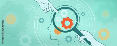 Carta da parati The psychological concept of human thinking, brain mechanics, complexes, problems
