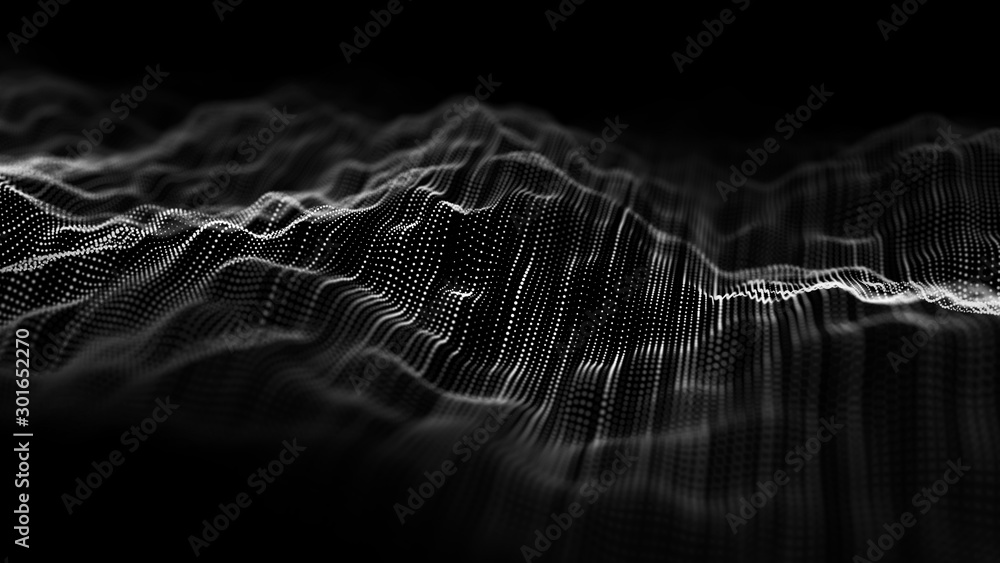 Fototapety, obrazy: Wave of particles. Abstract background with a dynamic wave. Big data visualization. 3d rendering.