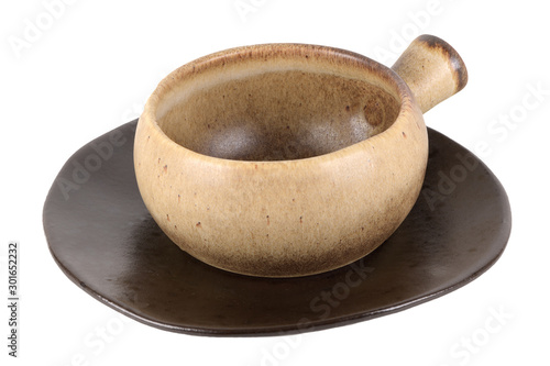 Canvas Rustic clay pot isolated on white background.