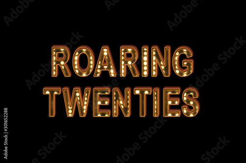 Leinwand Poster  Roaring twenties poster bulb Hollywood Broadway letters on black background