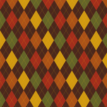 Retro Thanksgiving Fall Argyle Pattern In Vector Format.