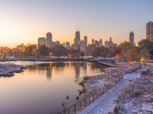 Chicago Downtown Skyline Lincoln Park Sunrise Morning Pond Snow