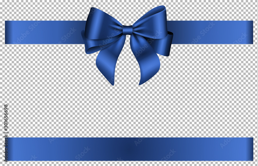 Fototapeta Blue bow and ribbon for chritmas and birthday decorations