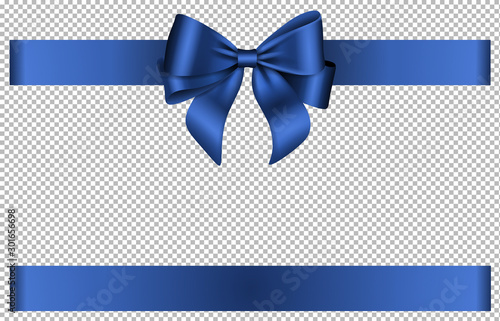 Fotografie, Obraz Blue bow and ribbon for chritmas and birthday decorations