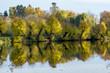 canvas print picture - Baeume spiegeln sich im Wasser