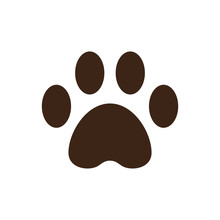 Paw Icon Logo Vector In Flat Style  Design Template