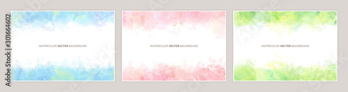 Obraz Set of colorful vector watercolor backgrounds with white space for text. Set of cards for wedding, greetings, birthday. backgrounds for web banners design. - fototapety do salonu