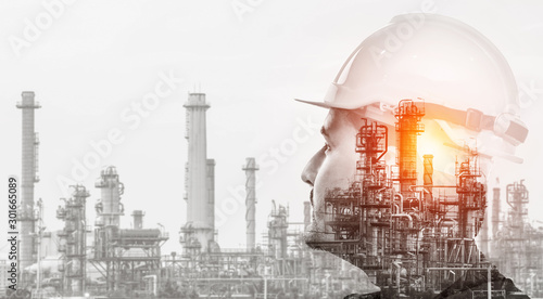 Fototapeta Future factory plant and energy industry concept in creative graphic design. Oil, gas and petrochemical refinery factory with double exposure arts showing next generation of power and energy business. obraz
