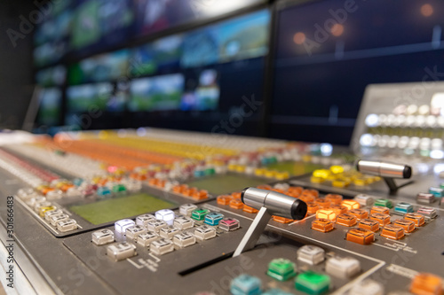 Vászonkép  Professional broadcast video switcher used during live television productions, shallow depth of field