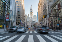 Philadelphia City Hall With Old Building And Trafic, Philadelphia, Pennsylvania,United States Of America, USA,clock Tower, Tourist Architecture And Building With Tourist Concept