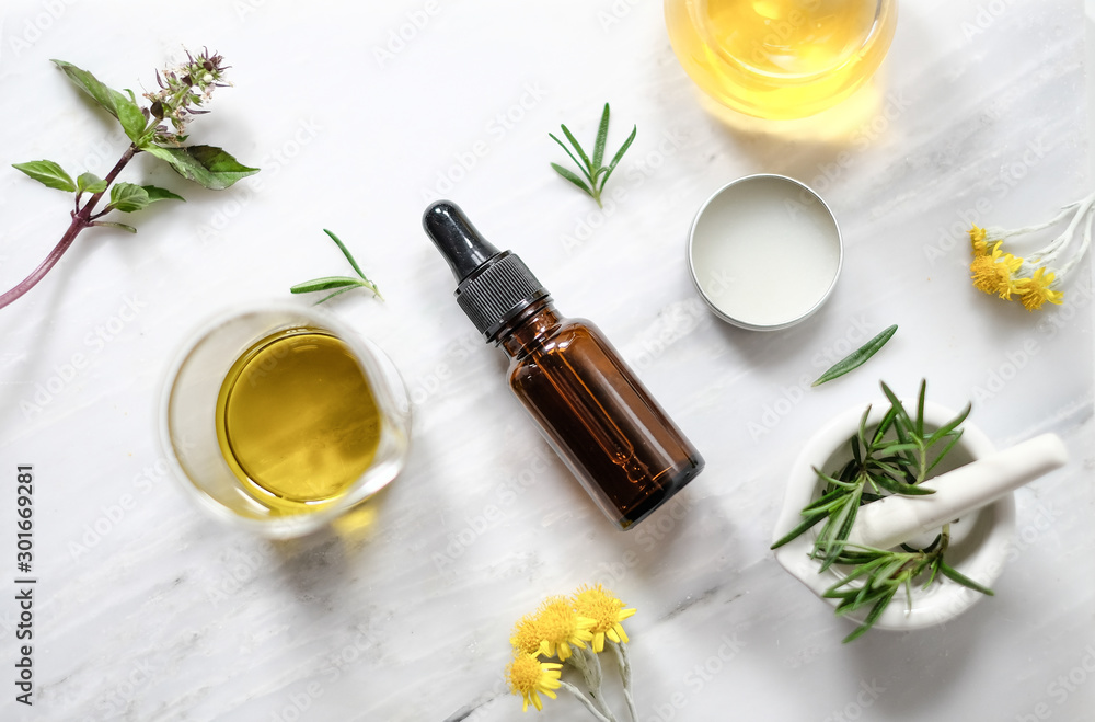 Fototapety, obrazy: beauty spa skin care product with rosemary and natural essential oil.