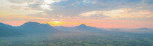 View Of Landscape With Morning Sunrise At Phu Thok Mountain, Chiang Khan, Loei Province, Thailand