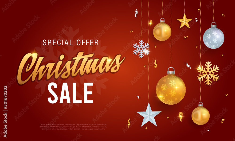 Fototapeta Christmas sale banner red background template with glitter gold elements, snowflakes, stars