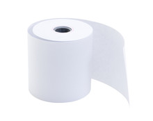 Roll Of Cash Register Tape ( Slip Receipt  Paper Roll) Isolated On White Background With Clipping Path.