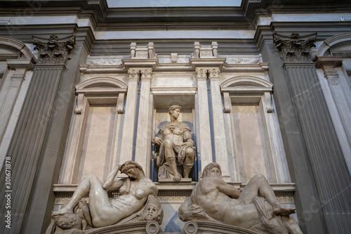 Fototapeta Closeup view of marble sculpture by Italian artist in Medici Chapels obraz