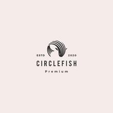 Round Circle Fish Logo Hipster Retro Vintage Vector Icon Illustration